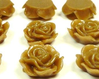 13mm Caramel Brown Rosebud Flower Resin Cabochons - 10pcs - Flat Back Cabs, Floral Rose