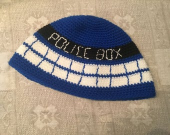 "Hand-crocheted ""toque"" Dr. Who Tardis"