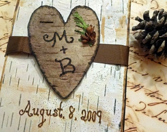Personalized Birch Bark Wedding Journal/Guestbook