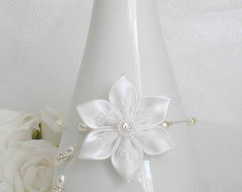 Bracelet red kanzashi satin flower wedding white pearls and rhinestones