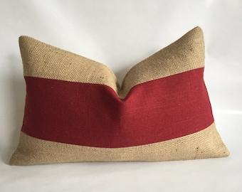 Berry Linen/Cotton Fabric and Natural Burlap Lumbar Pillow Cover