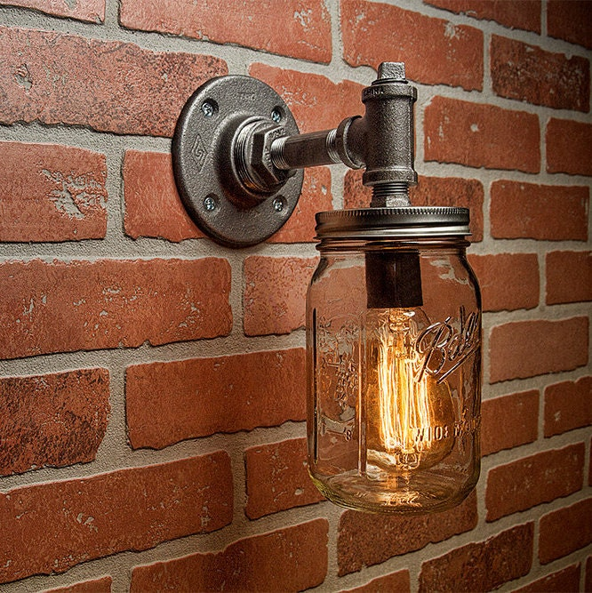 steampunk lighting. Industrial Lighting - Mason Jar Light Steampunk Sconce Wall FREE SHIPPING