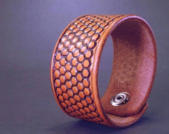 Yellow Honeycomb Hand Tooled Leather Cuff Bracelet