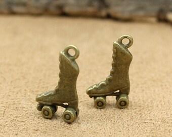 30pcs Antique Bronze Roller Skate Charms Pendant 3D 21x12x4mm C0888-T