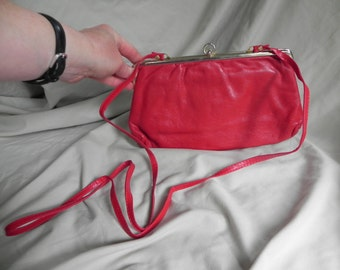 1960's or 1970's Fun Red Italian Leather Clutch Purse Shoulder Bag