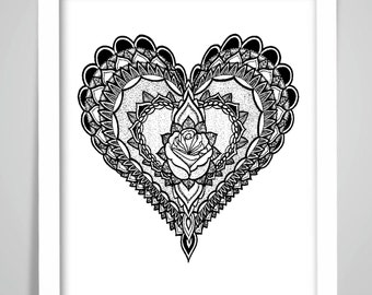 MANDALA HEART Print Poster Wall Art Print Home Decor Valentines's Gift Framed or Print only