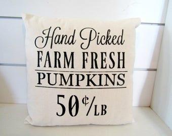 Hand Picked Farm Fresh Pumpkins -Shabby-Chic Farmhouse Pillow