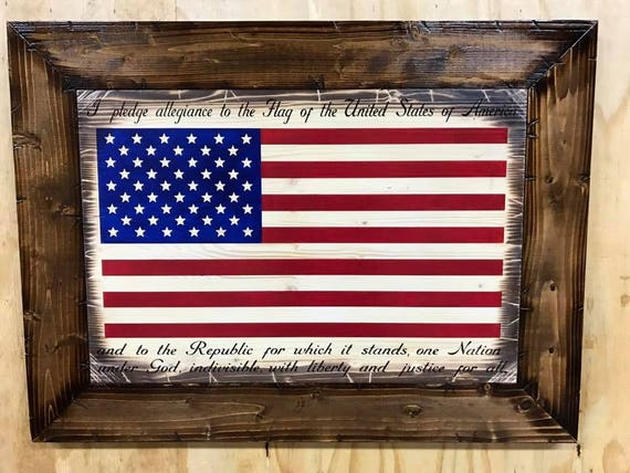 Wooden Rustic Style American Flag Sign w/ the Pledge of Allegiance