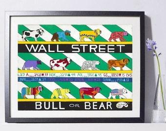 New York Art - Wall Street Art Painting - New York Gift - NYC Art Print - Pat Singer's New York