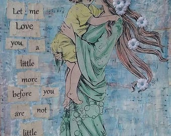 Mother and Child, Altered Art, Mixed Media, Collage, Wall hanging