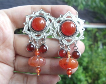 Carnelian Melon bead and cabochon Lotus Plugs Tunnels 16mm  5/8 inch