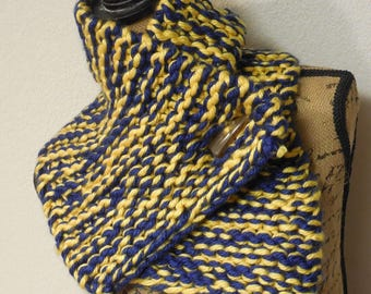 ONLY ONE Winter Knit Cowl in Blue and Yellow Mix