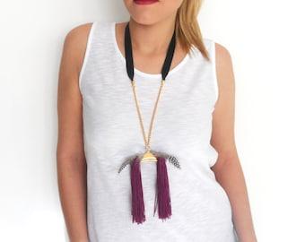 Long statement necklace, Tassel necklace, Bohemian necklace, Boho, Feathers, Gold necklace, Purple necklace, Unique necklace, Everyday