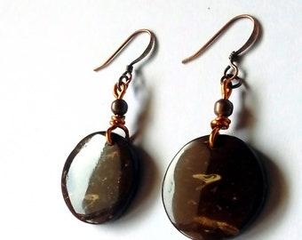 Handcrafted Coconut Shell Earrings, Handmade, Coconut Shell Earrings,Earrings, Orecchini, Orecchini in guscio di noce di cocco