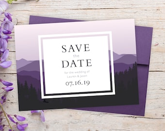 """Save The Date Cards - 5"""" x 7"""" Mountain Wedding Announcement Cards - Save The Dates - Personalized Save the Dates - Photo Cards"""