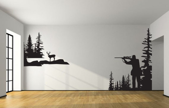 Whitetail deer hunting wall decal large hunter deer hunting boy girl nursery baby kids room decal bedroom living man cave rustic