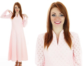 70s Lace Eyelet Dress Bohemian Hippie Mod Vintage 60s Romantic Pink Boho Maxi Small S M Medium