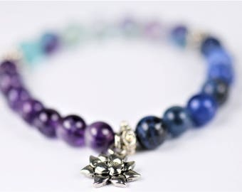 Fluorite, Amethyst and Sodalite 100% Natural Stone Stretch Bracelet with Lotus Flower Charm ~ SPIRITUAL AWAKENING