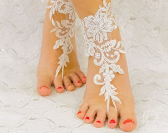Wedding Sandals, beach wedding barefoot sandals, wedding lace shoes, bridesmade gift, beach shoes 10