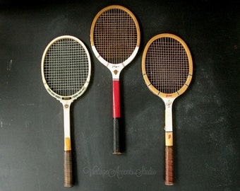 3 Vintage Wood Tennis Raquets Rackets | Instant Collection | Outdoor Sports | Summer Home | Wall Decor | Lake Cottage | Rec Room | Man Cave