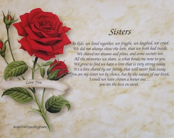Personalized Sisters Art Print with Poem-Red Rose Art-Home Decor-8x10-