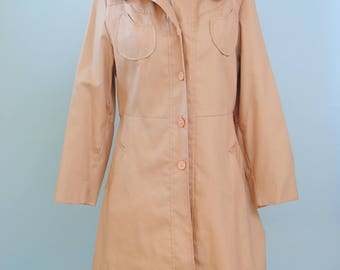 Vintage Trench Coat 60s 70s Peach Trench Jacket Minimalist Peach Trench Coat S M