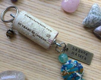 Wine Cork Keychain/Hakuna Matata