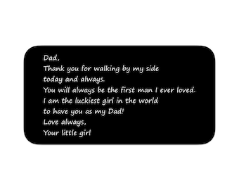 "Father of the Bride / Wedding Wallet Insert Card / Custom Wallet Card / Engraved Wallet Card / ""Dad, Thank you for walking by my side..."""