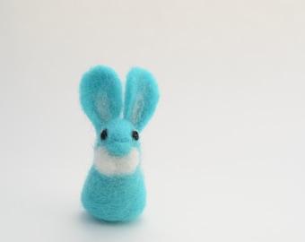 Needle Felted Blue Miniature Bunny, Blue Miniature Bunny Sculpture, READY TO SHIP, Bunny Gift, Blue Easter Bunny, Needle Felted Animal