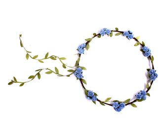 Blue Rose Flower Crown, Floral Garland, Festival Flower Crown, Rose Flower Headband, Bridal Hair Wreath, Bridesmaid Hair Accessory