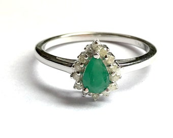 EMERALD DIAMOND RING, May birthstone , Halo Diamond Ring,emerald engagement ring, Pear emerald ring, antique emerald ring ,emerald jewellery