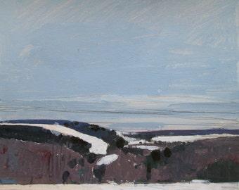 Ida Hills, March 11, Original Landscape Painting on Paper, Stooshinoff
