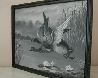 Vintage Mallard Duck Painting Pond Scene Lily Pads Black Frame Signed