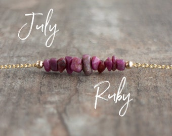 Raw Ruby Necklace, Raw Crystal Necklace, July Birthstone Necklace, Girlfriend Gift for Her, Birthday Gifts, Stone Choker, Healing Crystal