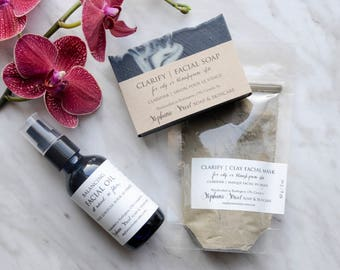 Clarify Facial Set for oily or blemish-prone skin: Facial Soap, Clay Masque concentrate, Balancing Facial Oil   all natural, essential oils