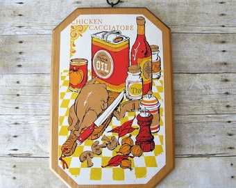 Colorful 1970's Vintage Chicken Cacciatore Cutting Board with Hanging Hook