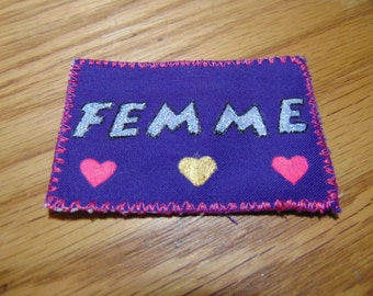 Hand Painted Femme Patch Made With Holographic Glitter Paint | Femme Glittler Patch