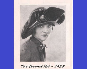 1920's Millinery - Coronet Hat Making Instructions - Fall 1925 - Reproduction Fashion Service Pattern - .pdf Instant Download