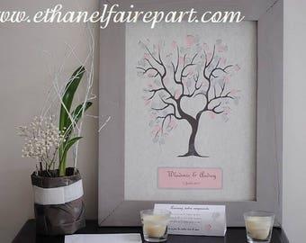 Tree prints grey and pastel pink