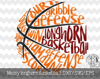 Messy Longhorn Basketball design INSTANT DOWNLOAD in dxf/svg/eps for use with programs such as Silhouette Studio and Cricut Design Space