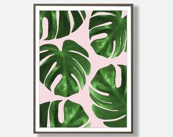 Monstera Print, Blush Pink Wall Art, Monstera Leaves Prints, Large Printable Poster, Tropical Leaf Decor, Digital Monstera, Feliss-Art