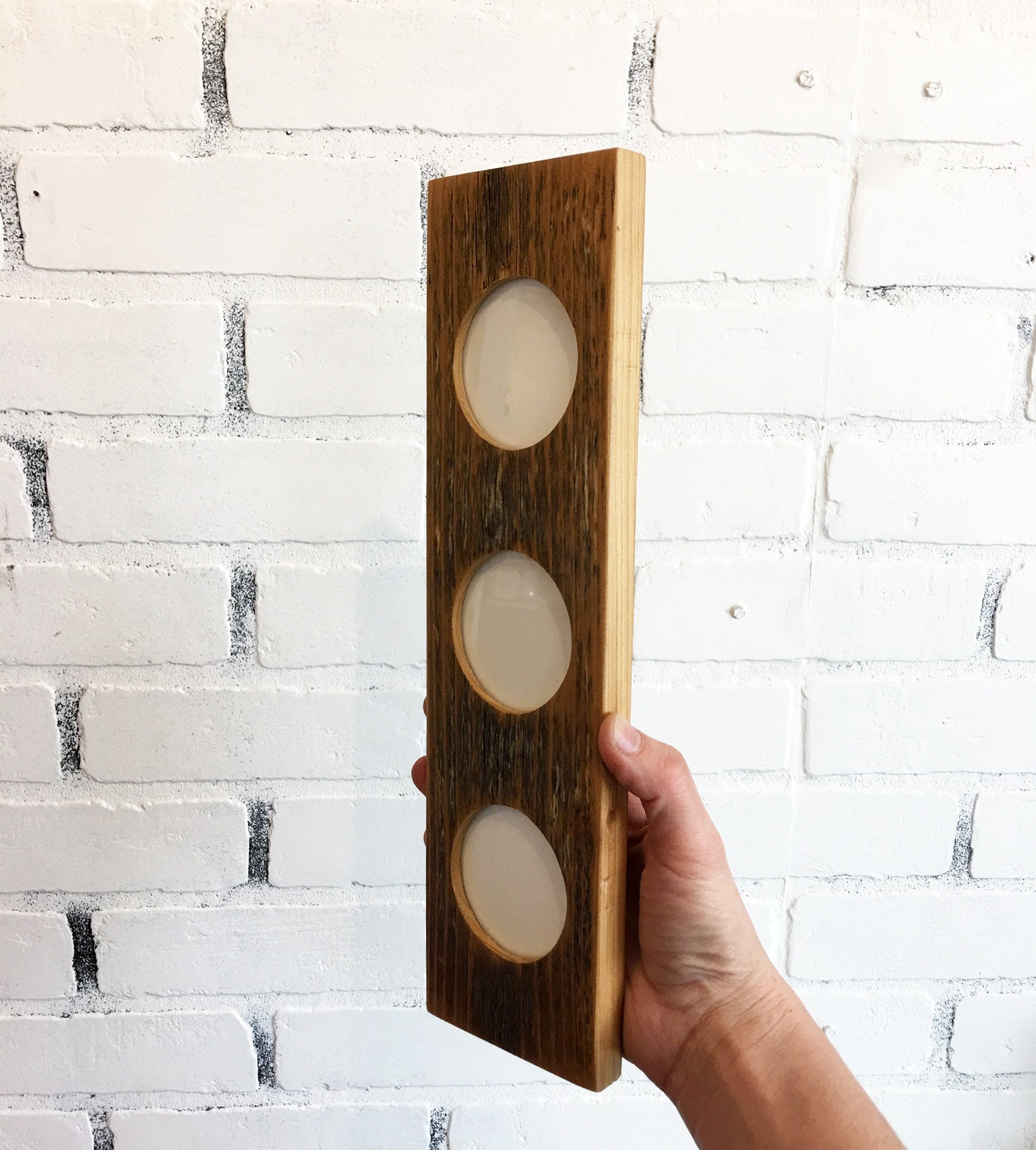 Reclaimed Wood Stacked Circle Window Picture Frame for (3) 2.5 x 3.5 ...