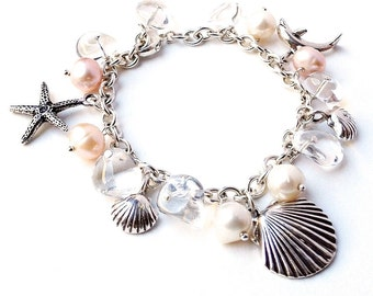 Sterling Silver Beach Bracelet. Beach wedding bracelet. Starfish, Dolphin, Pearls Crystals Bracelet. Ocean Beach Jewelry