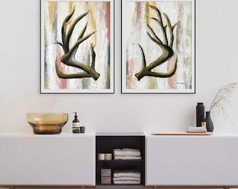Deer antler, Woodland Animals, Acrylic on paper, forest animals, Abstract art, Modern Art, Home Decor, Holiday decor, Deer horns