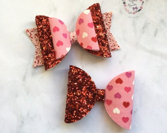 Valentines Hearts & Glitter Bow Hair Accessory (headband or clip)