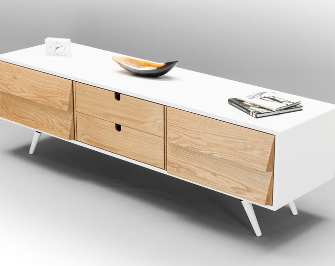 Sideboard, dresser, cupboard, credenza in solid board oak, media console, Mid century