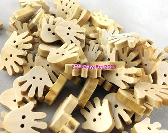 100PC wooden sewing buttons Hand Shaped DIY craft