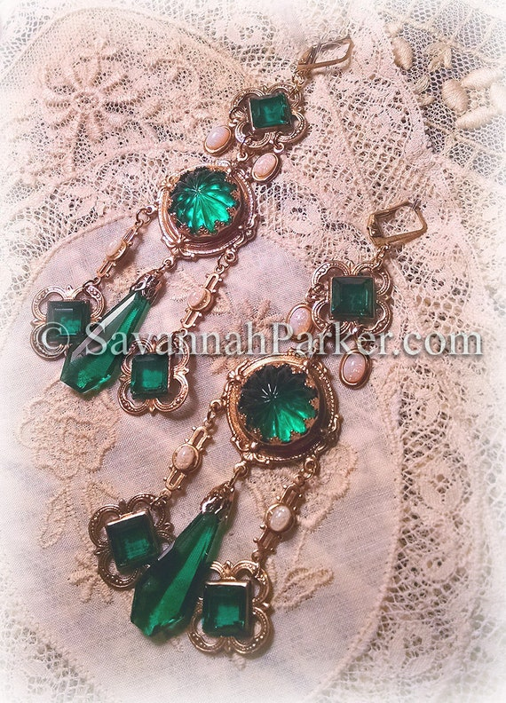 """Antique Style Victorian Edwardian Renaissance Emerald and Opal Earrings - Vintage Czech Glass Stones -  3.5"""" long - READY TO SHIP"""