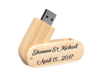 2 Sides Personalized Engraved Bamboo Rounded Corner Swivel 8GB USB 2.0 Flash Drive