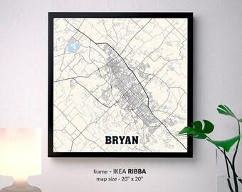 Bryan Texas Map Print, Bryan Square Map Poster, Bryan Wall Art, Bryan gift, Custom Personalized map